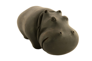 wooden hippo close-up