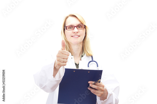 Female doctor with clipboard showing thumb up