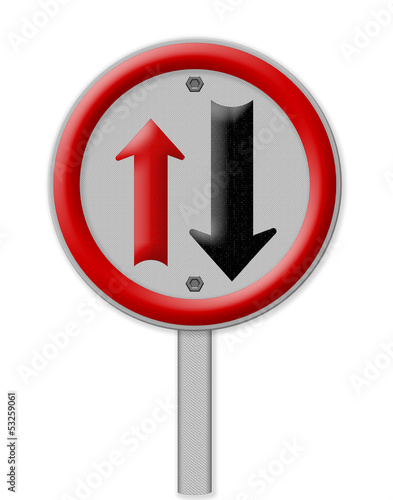 Two way traffic sign, isolate on white background, Part of a ser