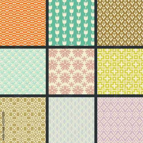 Retro seamless patterns (tiling)