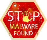 malware / computer virus warning sign, vector poster