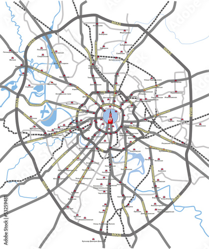 Map of Moscow main roads and subway station