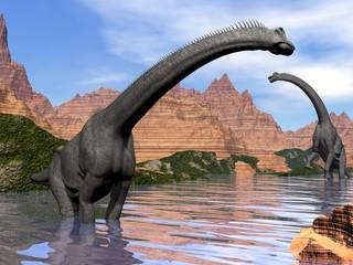 Brachiosaurus dinosaurs in water - 3D render