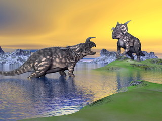 Einiosaurus dinosaurs by sunset - 3D render
