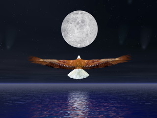 Eagle flying to the moon - 3D render