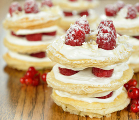 Millefeuille with raspberry