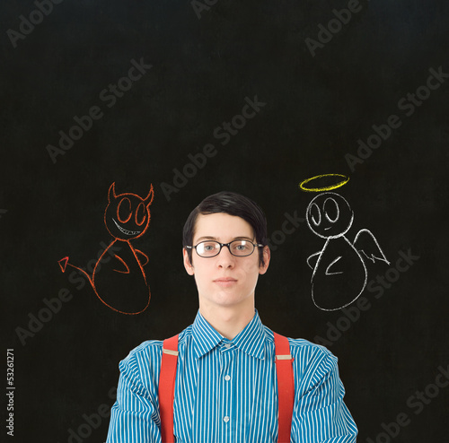 Nerd geek businessman student teacher angel devil chalk decision