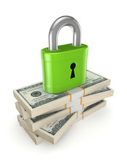 Green lock on a stack of dollars.