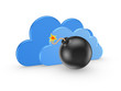 Symbol of cloud computing and black bomb.