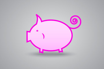 pink pig piggy bank on gray background