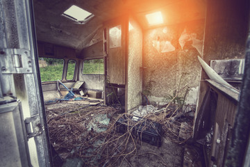rundown caravan interior