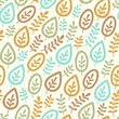Seamless color pattern with leaves