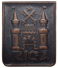 Soviet icon with the city of Riga