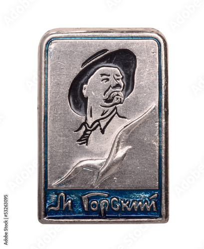 Soviet badge with Maxim Gorky