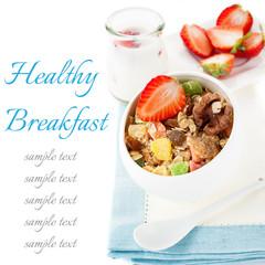Granola (muesli) with strawberries and walnuts.