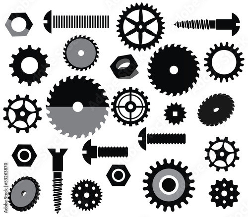 Vector materials (circular saw, tooth wheels, screws)