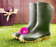 Gumboots with a pink gerbera daisy
