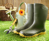 Gumboots and gardening tools