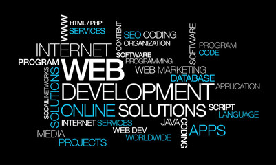 Web development online solutions word tag cloud illustration