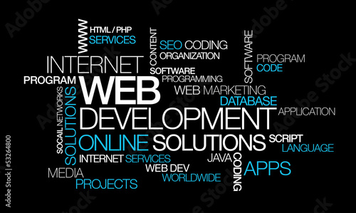 Web development online solutions word tag cloud illustration
