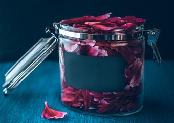 flower petals in a glass jar