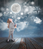 Child Playing with Moon and Stars at Night