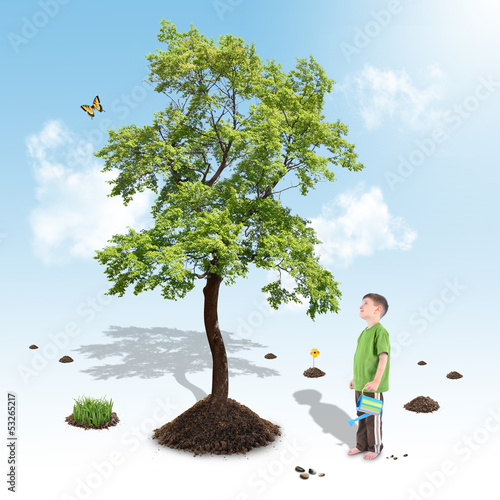 Boy Growing Nature Tree in White Garden