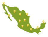 Mexico map in green color with pins