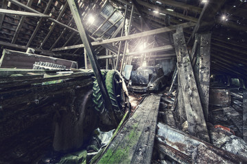 inside abandoned barn