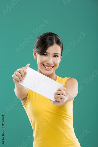 Holding  a white paper card