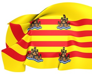 Flag of Ibiza, Spain.