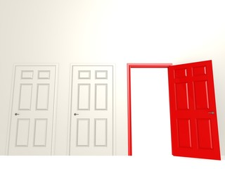 Open red door