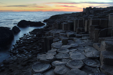 Giant causeway in sunset light