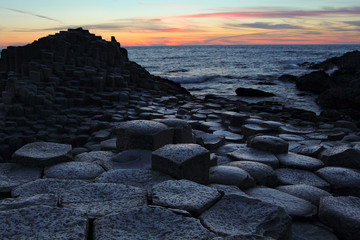Giant's Causeway in Antrim county at sunset