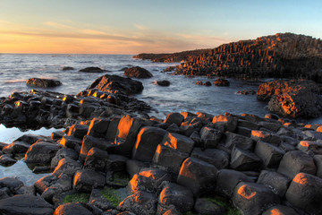 Sunset seascape at Giant's Causeway