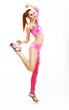 Dance. Elegant Glamorous Woman Showgirl in Clubwear. Vitality