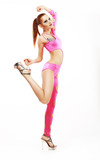 Dance. Elegant Glamorous Woman Showgirl in Clubwear. Vitality