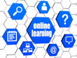 online learning and internet signs in blue hexagons