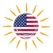 american flag in sun