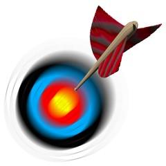 Pfeil fliegt auf Zielscheibe zu