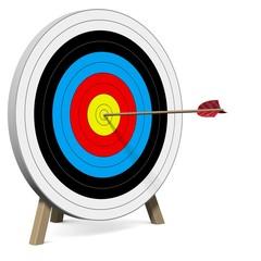 Pfeil trifft die Zielscheibe ins Zentrum