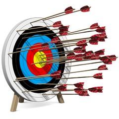 Viele Pfeile treffen die Zielscheibe