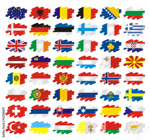 Europe Flags Brush style