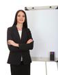 Businesswoman presenting on whiteboard.