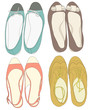Summer shoes set. Fashion vector illustration
