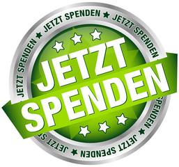 """Button Banner """"Jetzt spenden"""" grün/silber"""