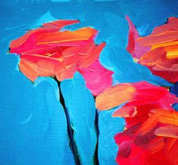 flowers of rose and blue sky, painting by oil on canvas