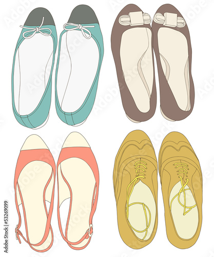 Summer shoes set. Fashion vector illustration - 53269099