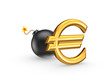 Sign of euro and black bomb.