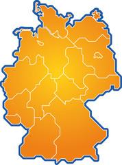 deutschlandkarte orange stilisiert